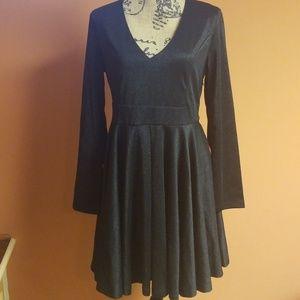 Black sheen pleated dress